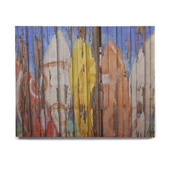 """Susan Sanders """"Surfboard Painted Fence"""" Blue White Photography Birchwood Wall Art"""