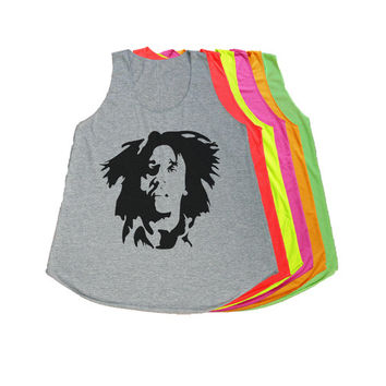 Bob Marley Shirt Women Girl Neon Tank Tops S M