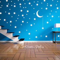 Star Bright Wall Decal Stickers Magical Celebration Fairy Tale Hanging Moon Dream Play Bedroom Van Gogh Sky Stars