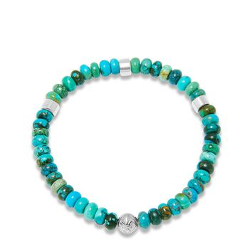 Men's Wristband with Turquoise and Silver