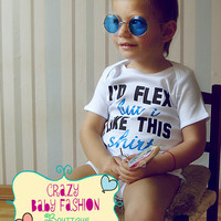 Trendy baby clothes, I'd flex but I like this shirt, baby boy clothes, birthday boy baby gift idea, shower baby ideas, funny baby clothes