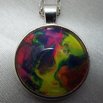Unique Hand Crafted Neon Multi-Color Pendant Necklace