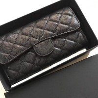 Women C brand new wallets Famous designer Genuine Leather lambskin caviar quilted flap purse long wallet card holder cluth all match with box