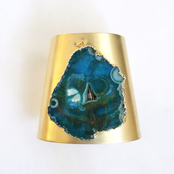 Large brass cuff bracelet, turquoise agate gem, cone shaped cuff, extra large, 3 inch wide, statement jewelry