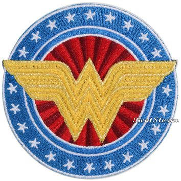 Licensed cool DC  WONDER WOMAN Wings Logo Stars Symbol Embroidered IRON ON Patch Badge