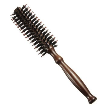 Curly Hair Care Brushes Mane Comb Wood Wooden Handle Anti-static Round Boar Hairdressing Roller Styling Tools