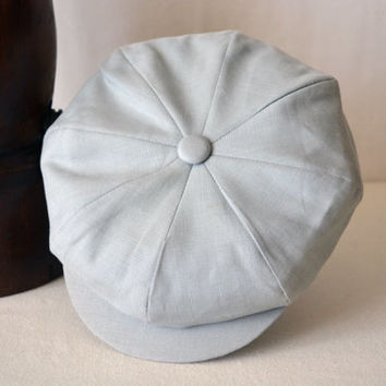 Light Gray Cotton Newsboy Cap - Pure Cotton Handmade Bakerboy / Apple / Newsboy / Flat Cap - Men Women