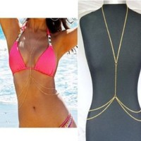 Towallmark 1PC Newest Simple Gold Bikini Beach Crossover Harness Necklace Waist Belt Belly Unibody Body Chain