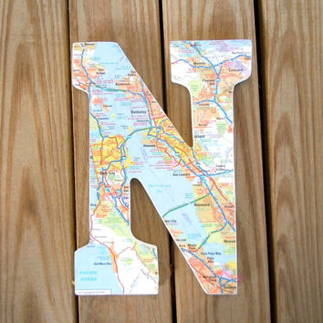 Wall Map Letter - 3D Map Letters - Map Covered Letter - Alphabet Letter - Wall Letters - Customized Map Gift - Wedding Gift - Gallery Wall