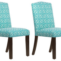 Teal Indio Arched Side Chairs, Pair, Dining Chair Sets