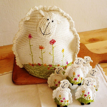 Set of Sheep Teapot Cozy and 6 Egg Cozies