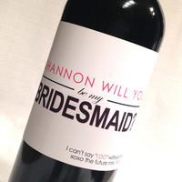 """6 - """"Will you be my Bridesmaid"""" weatherproof wine bottle labels"""
