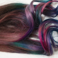 Handmade Dark Tye Dye Tips, 100% Human Hair Extensions, Festival Hair, Hair Trends, Dip Dyed Hair, Purple Hair