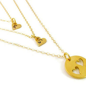 Gold Mother Daughter Necklace Set -  Initial Hearts - Mother of Two Daughters - Monogrammed Mom Jewelry - Sisters - Vermeil - Heart Cutout