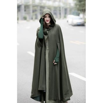 Plus Size Black Wool Cape Coat
