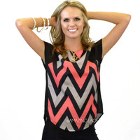 Board Meeting Girl Black & Coral  Chevron Blouse