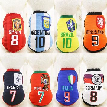 New Summer Fashion Sports Football Basket Ball Dog Clothes Costume Pet Clothing Dog Puppy Cat Vest Spring Shirt 1PC