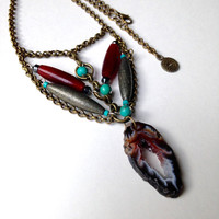Druzy Agate Necklace Round Turquoise Beads Red Tubes Brass Chain Pyrite Tubes