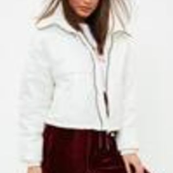 Missguided - White High Shine Cropped Puffer Jacket