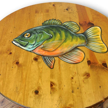 Rustic Coffee Table, Sunfish Coffee Table, Fish Furniture, Man Cave, Rustic Table, Rustic home decor, Cabin furniture, Log furniture