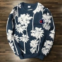 Champion Women Men Casual Coconut Tree Print Long Sleeve Round Collar Velvet Pullover Top Sweater