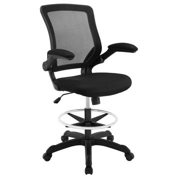 Modway Veer Drafting Chair In Black - Reception Desk Chair - Tall Office Chair For Adjustable Standing Desks - Flip-Up Arm Drafting Table Chair Drafting Stool