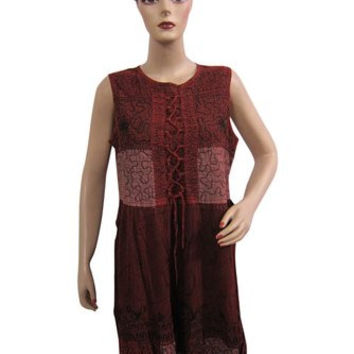 Mogulinterior Dresses, Maroon Embroidered Stonewashed Rayon Tank Dress for Womens