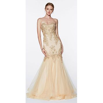Strapless Mermaid Tulle Gown Champagne Lace Details And Beading