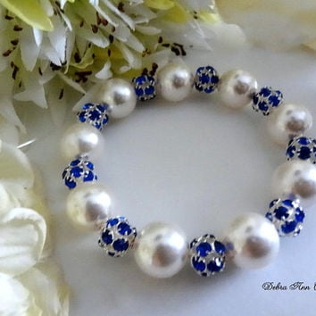 Swarovski Pearl Blue Crystal Bracelet Blue Bridesmaid Bracelet Blue Wedding Bridal Jewelry Blue Sapphire Bracelet Mother of Groom Bride Gift