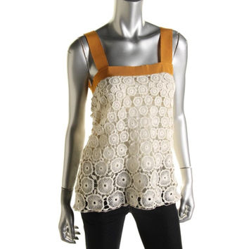 Catherine Malandrino Womens Circle Lace Camisole Blouse