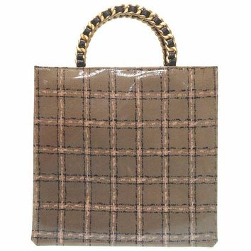 AUTHENTIC CHANEL Vintage Tote Bags Enamel Leather Brown Women's Bag 0427