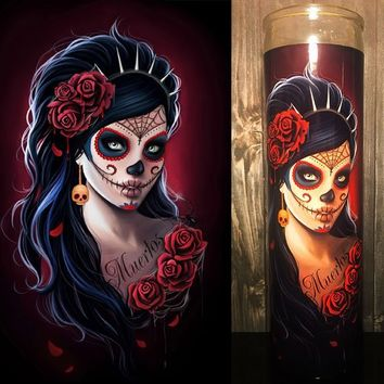 Sugar Skull, Day of the Dead, Dia De Los Muertos, Scented Candle, Prayer Candle, Good Vibes Only, Gifts for Her, Best Scented Candles,