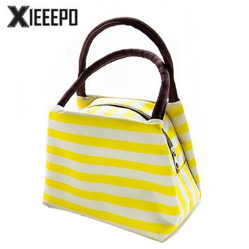 Fashion Stripes Thermal Lunch Bags Women Portable Insulated Thermo Cooler Bags Food Picnic Kids Lunch Insulation Ice Pack Box