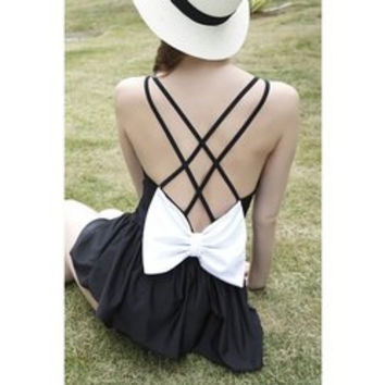 Trendy Double Strap Bowknot Embellished Hollow Out Women's Swimwear