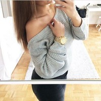 Round-neck Pullover Knit Tops Strapless Irregular Sweater [186297942042]