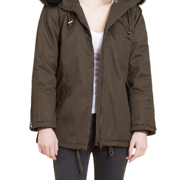 LE3NO Womens Inner Quilted Jacket Hoodie with Faux Fur