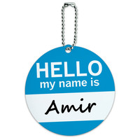 Amir Hello My Name Is Round ID Card Luggage Tag