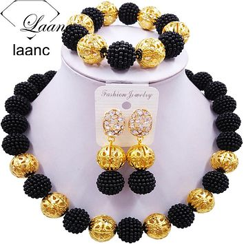 Pearl Beads African Necklace Bracelet Earrings Jewelry Sets