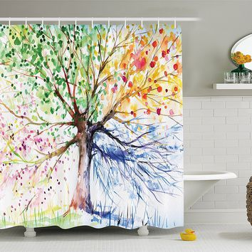 Seasons Tree of Life Boho Shower Curtain