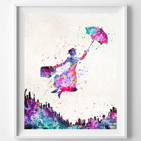 Mary Poppins Print, Watercolor Art, Type 2, Disney Poster, Wall Art, Dorm Decorations, Home Goods, Bedroom Wall Art, Halloween Decor