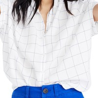Madewell Central Windowpane Tie Sleeve Shirt | Nordstrom