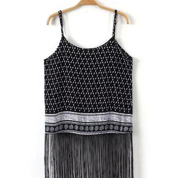 Black Geometrical Print Fringed Spaghetti Strap Top