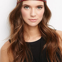 Beaded Floral-Embroidered Headband