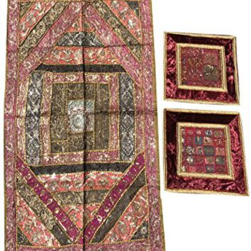 Mogul Interior Authentic Vintage Zardozi Tapstry With Cushion Cover Sequin Patchwork Table Throw Wall Hanging