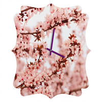 Lisa Argyropoulos Blissfully Pink Quatrefoil Clock