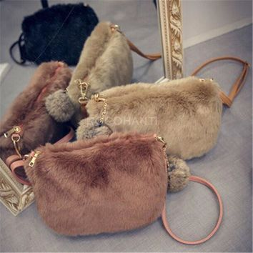 ROCOHANTI ROCOHANTI Winter 2016 New Faux Fur Furry Crossbody Shoulder Bag Handbag Wristlet Clutch Purse