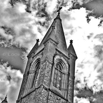 architectural photo, gothic building, church spire with cross, black and white architecture, moody dark cathedral art photo, Philadelphia