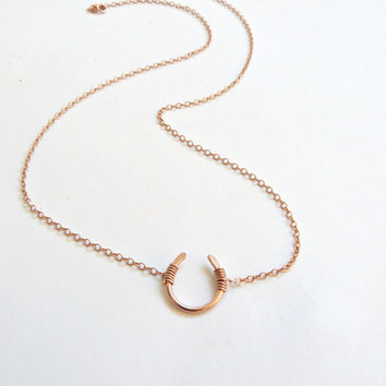 SALE Horseshoe Necklace Gold Lucky charm Rose gold Horseshoe Horse Lover Jewelry Country girl Jewelry Equestrian Jewelry