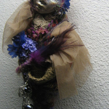 Shabby Chic, Trendy Kitchen witch, Spirit Art doll OOAK Cottage wall decoration