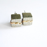 Black Friday Sale...Pyrite Stud Earrings- Raw Stones - Square- Geometric